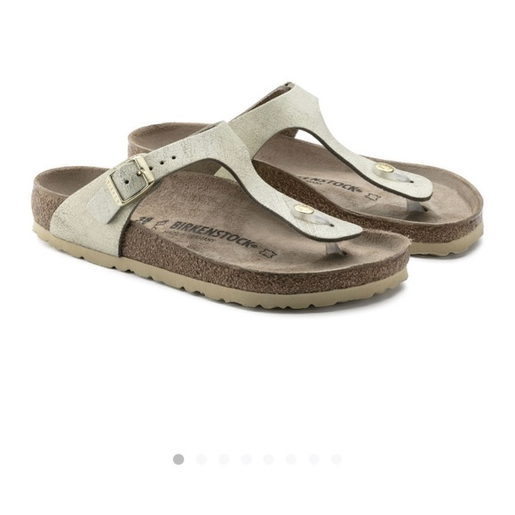 Birkenstock gizeh, washed metallic cream gold 37